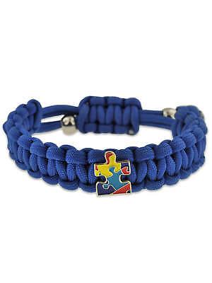 Autism Awareness Paracord Adjustable Survival Bracelet with Puzzle Piece Charm (Autism Charms)