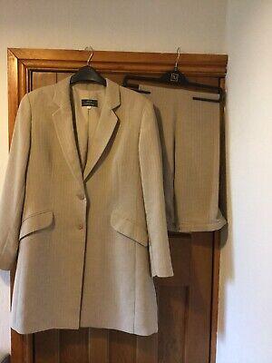 Ladies Trouser Suit Beige Linen Look Size 16/18 M&S