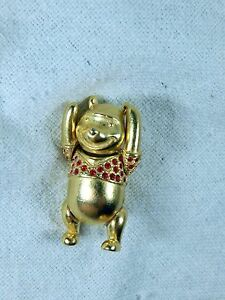 Disney Couture Winnie the Pooh Pin Back Brooch Gold Red Accents Moving Arms Leg
