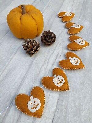 Halloween bunting, pumpkin decor, autumn felt garland, party, teepee