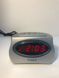 Silver Timex Extra-Loud Alarm Clock, T101, Battery Backup, Snooze Button