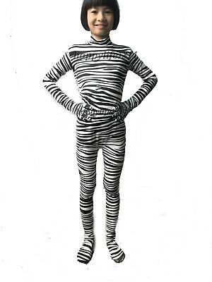 Zebra Stripe Adult Kid Lycra Spandex Zentai Costume Catsuit leotard Unitard ](Zebra Costume Adult)