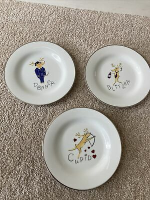 "3 Pottery Barn REINDEER Dessert Salad Plates 8.5"" Donner Blitzen Cupid"
