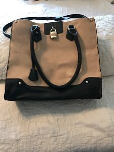Large beige and black purse