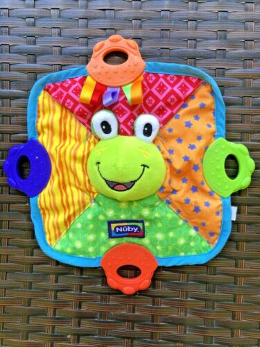 Nuby Teething Blankie Baby Teether Frog Squeaker Toy 0+ Months