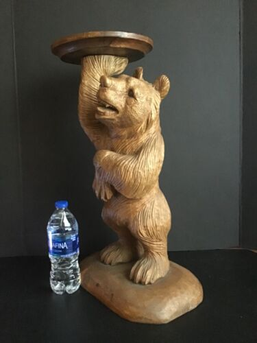 Original Antique circa 1920 Black Forest Bear End Table Hand Carved Wood