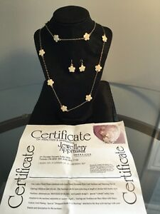 Mother Pearl Necklace and Earrings Set