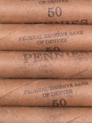 (FIVE) FRB Denver Lincoln Wheat Cent Penny Rolls Old US Coins 1909-1958 P D S