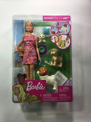 Barbie Doggy Daycare Doll Blonde Hair with 2 Dogs & 2 Puppies Feed and Potty NEW