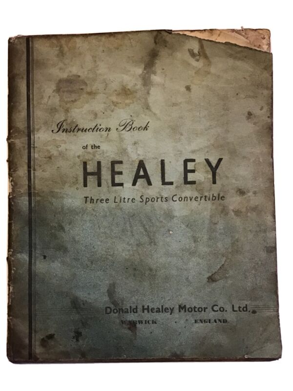 Healey 3 Litre Sports Convertible Instruction Book / Extremely Rare Original!