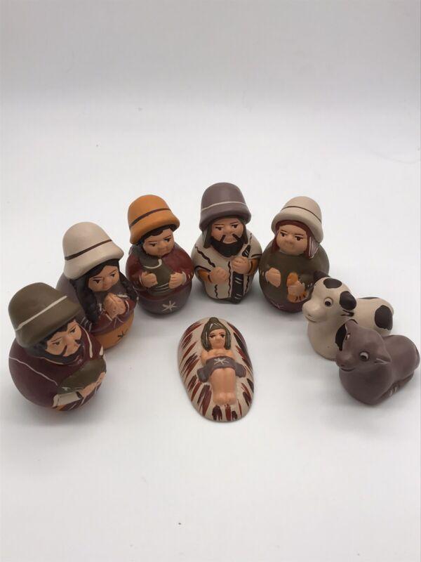 """Peruvian Handmade Pottery Nativity Scene Set of 8 Christmas Decor (3"""" tall) E"""