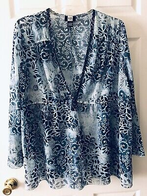 Studio 1940 Sheer Sequined Blue Blouse Shirt Top Plus Size 22/24W Long Sleeves