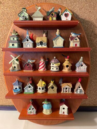 Vintage- 24 Lenox Birdhouse Thimbles w/ Wooden Display Shelf