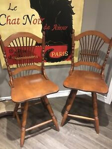 2 solid maple bar stools