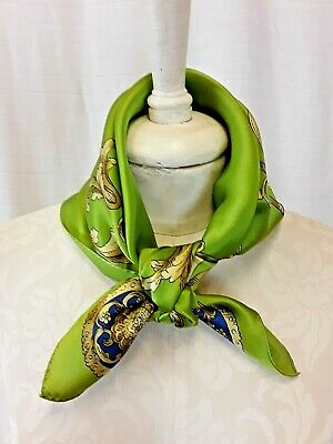 Vintage Scarf Styles -1920s to 1960s Vintage Echo Scarf 100% Hand Rolled Silk Green Baroque Print 21
