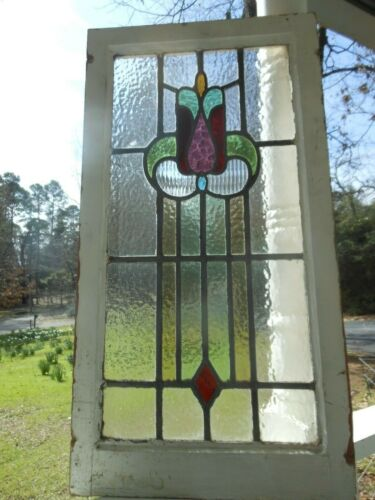 """H-31-536 Lovely Older English """"Tulip"""" Leaded Stain Glass Window 31 3/8 X 16 5/8"""