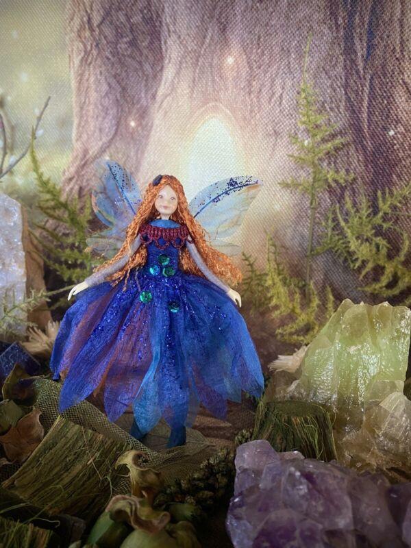 "Poseable Handmade  Fairy Collectible Doll Ornament ""Indigo"""