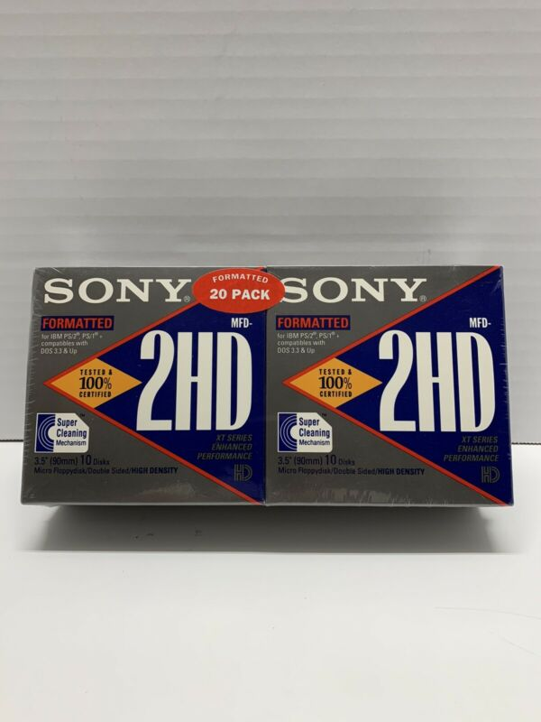 Sony 2HD 3.5 Floppy Disks: Formatted IBM two 10 Packs -20 Total discs total) NEW
