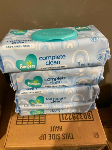 4 packs 72ct Pampers Baby Fresh Scent Complete Clean 288 wipes new sealed