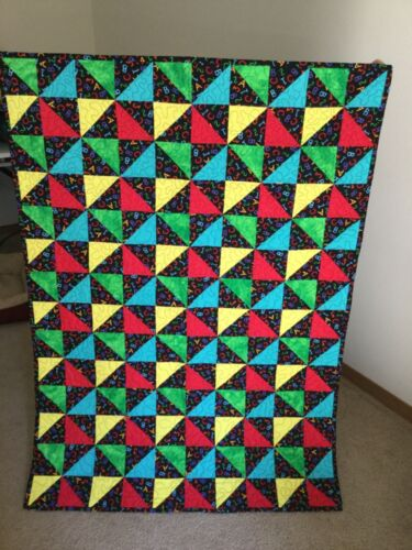 Baby or Child Quilt, Colorful Pinwheels