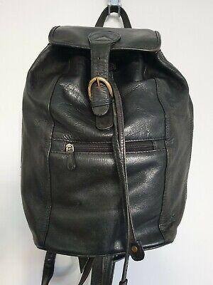 HIDESIGN Genuine Leather Backpack Rucksack Black Womens Tartan lining Medium