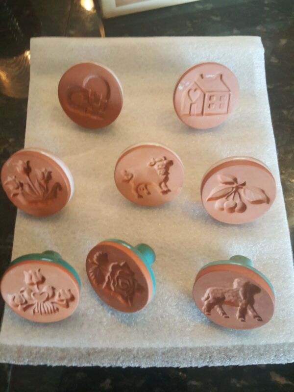 Vtg Rycraft Cookie Stamp Lot 8 HEART, HOUSE, CHERRY, COW, TULIP, LAMB, ROSE +