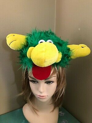 NEW Kids Green Furry Cartoon Monster Head & Feet Costume Hat Plush Novelty Cap