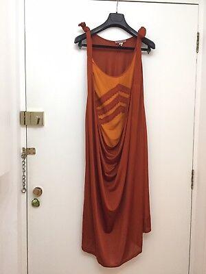 BLAAK - Cowl Front Fine Gauge Silk & Viscose Jersey Dress Lace Detail UK10 Cowl Front Jersey Dress