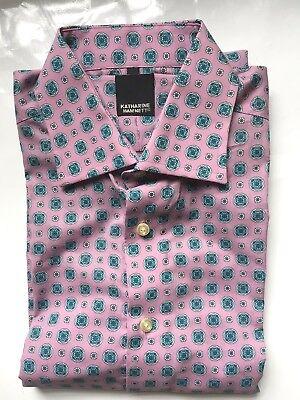 KATHARINE HAMNETT designer cotton M shirt pink with blue geometric design BNWOT