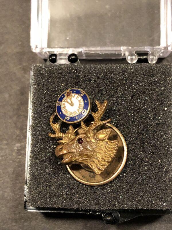 Vintage BPOE Elks Lodge Lapel/Tie pin 1950s screw back