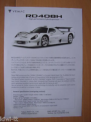 Tokyo R&D Vemac RD408H Prospekt / Brochure, Japan, sehr selten / very rare! online kaufen