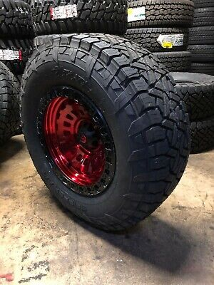 """17x9 Fuel D632 Zephyr Red 33"""" AT Wheel and Tire Package 6x135 Ford F150"""