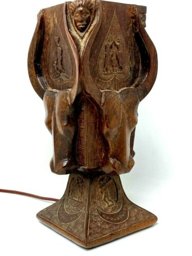 School Madagascan & Antananarivo & & Lamp & Wood & Art Deco & Sculpture