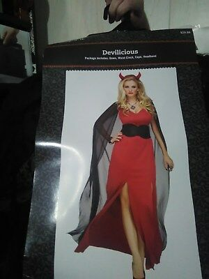 Devilicious Womens Red Devil Lucifer Dress Halloween Costume-M/L 10-14