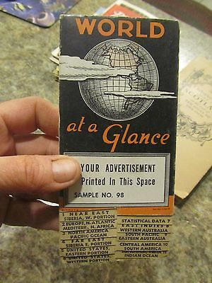 Vintage World at a Glance Fold out tab map No. 98   Atlas Map