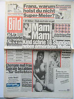 Bild Zeitung vom 10.9.1984,Anja Kruse, Liz Taylor, Udo Jürgens,  Zum Geburtstag