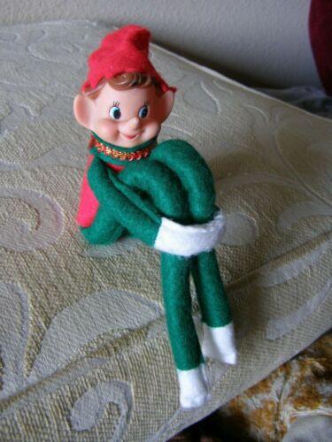 Elf Knee Hugger Pixie Pointed Ears Red /Green Felt Ornament Japan?