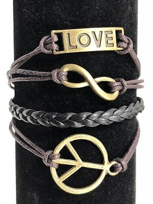 Womens Peace Bracelet - Bracelet Friendship Womens Peace Sign Love Infinity Adjustable Brown Brass NEW