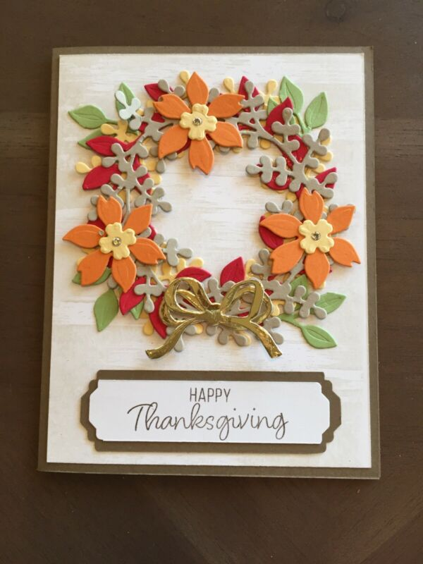 Handmade Thanksgiving Wreath Card Kit-4 Cards