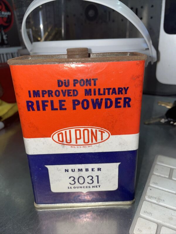"""Vintage Dupont """"EMPTY"""" Tin Can Military Rifle Powder Can #3031 Vintage"""