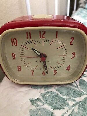 Kikkerland Retro Alarm Clock Red Vintage Old Time Classic Style Hands Glow Dark Old Fashion Alarm Clock