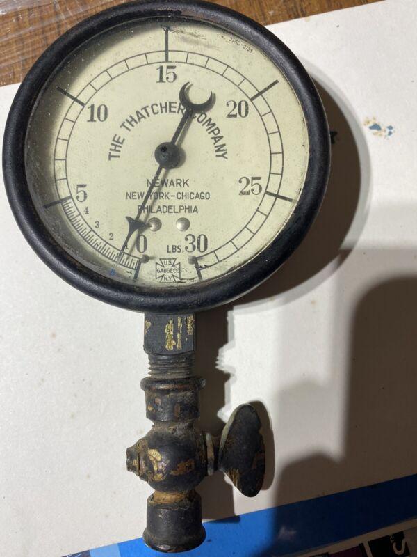 "US Gauge Co vintage 0-30 Steam Pressure Thatcher-Newark NY Phila Chicago 3-1/2"""