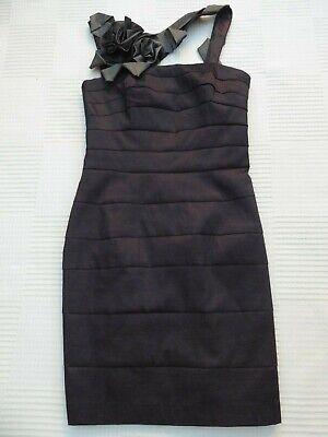 Jessica McClintock figure hug/flatter floral/strapy offset neck dress Size 8/10