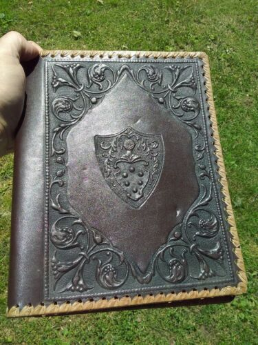 VINTAGE ITALIAN EMBOSSED TOOLED LEATHER BOOK COVER 8x10 COAT OF ARMS AND VINES