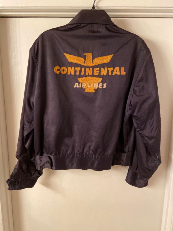 Vintage Early Continental Airlines Black Work Jacket Size Medium RARE
