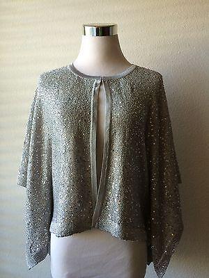 Alfani Women's Sequin Flyaway Cape Kimono Sleeve Cardigan Gray L