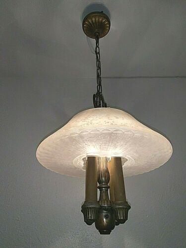 Vintage Art Deco 1930-40s Lightolier 4 light Hanging Fixture
