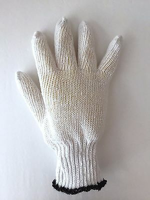 12 Pairs Bleached White Cotton String S-0320-l Knit Gloves Large Free Ship