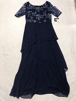 Le Bos Womens Blue Mother Of The Bride Formal Wedding Dress Size 10