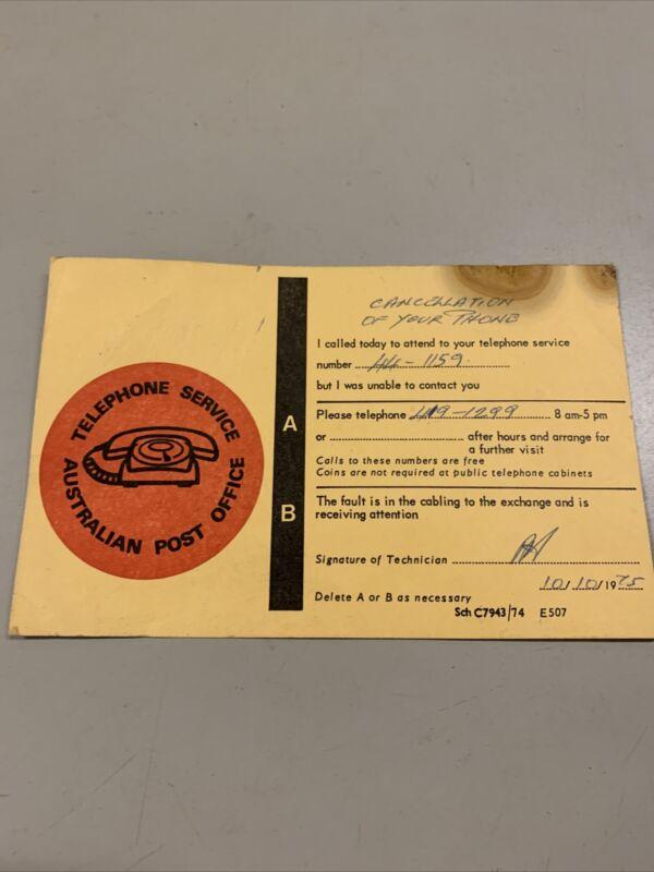 VINTAGE AUSTRALIAN POST OFFICE TELEPHONE SERVICE TECHNICIAN CALLING CARD